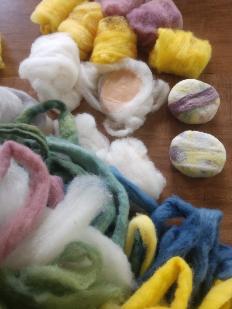 Learning to dye roving and felt soap